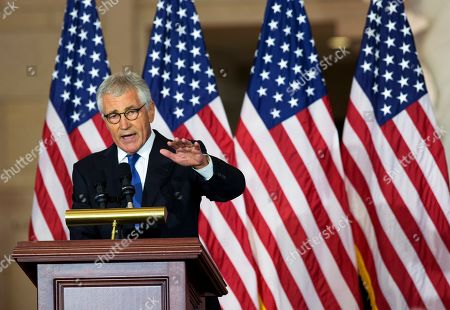 Chuck Hagel Former Secretary of Defense Chuck Hagel, speaks about his experiences as a soldier fighting in Vietnam, during a ceremony to commemorate the 50th anniversary of the Vietnam War on Capitol Hill in Washington