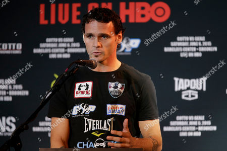 Daniel Geale Boxer Daniel Geale speaks during a news conference, in New York. Miguel Cotto is slated to defend his WBC world middleweight title against Geale on Saturday, June 6, at Barclays Center in the Brooklyn borough of New York