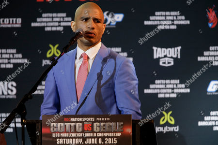 Miguel Cotto Boxer Miguel Cotto speaks during a news conference, in New York. during a news conference, Tuesday, June 2, 2015, in New York. Cotto is slated to defend his WBC world middleweight title against Daniel Geale on Saturday, June 6, at Barclays Center in the Brooklyn borough of New York