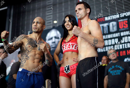 Miguel Cotto, Daniel Geale Boxers Daniel Geale, right, and Miguel Cotto pose for photographers during the weigh-in for their fight at the Barclays Center, in the Brooklyn borough of New York. Cotto is slated to defend his WBC world middleweight title against Geale on Saturday
