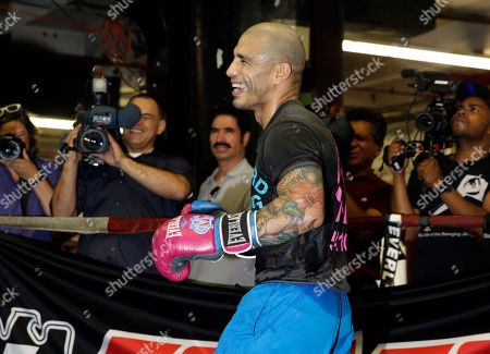 Miguel Cotto Boxer Miguel Cotto boxes during an open work out at a gym in the Brooklyn borough of New York, . Cotto is slated to defend his WBC world middleweight title against Daniel Geale on Saturday, June 6, at Barclays Center in the Brooklyn
