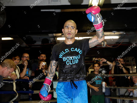 Miguel Cotto Boxer Miguel Cotto gestures during an open work out at a gym in the Brooklyn borough of New York, . Cotto is slated to defend his WBC world middleweight title against Daniel Geale on Saturday, June 6, at Barclays Center in the Brooklyn