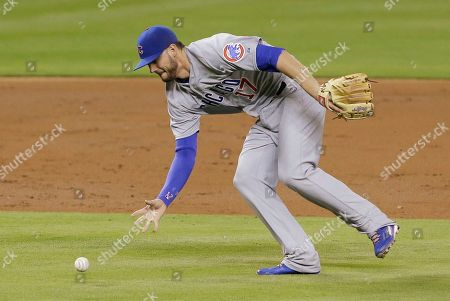 Kris Bryant Chicago Cubs third baseman Kris Bryant fields a ground ball hit by Miami Marlins' Jeff Baker during the third inning of a baseball game, in Miami