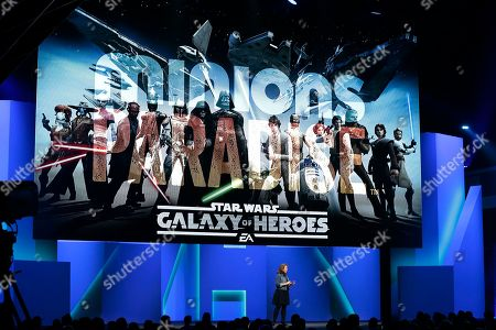 """Stock Photo of Samantha Ryan, SVP and Group GM, EA Mobile presents """"Star Wars: Galaxy of Heroes"""" at the Shrine Auditorium in Los Angeles, . The video game publisher heavily focused on its forthcoming """"Star Wars"""" games during a Monday briefing at the Electronic Entertainment Expo"""