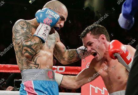 Miguel Cotto Miguel Cotto, left, of Puerto Rico, punches Daniel Geale, of Australia, during the fourth round of a boxing match, in New York