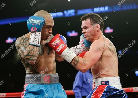 Miguel Cotto Miguel Cotto, left, of Puerto Rico, punches Daniel Geale, of Australia, during the first round of a boxing match, in New York