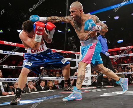 Miguel Cotto Miguel Cotto, right, of Puerto Rico, punches Daniel Geale, of Australia, during the second round of a boxing match, in New York