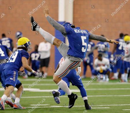 Steve Weatherford New York Giants punter Steve Weatherford (5) kicks during organized team activity in East Rutherford, N.J