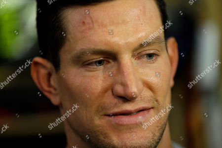 Steve Weatherford New York Giants punter Steve Weatherford speaks to reporters after organized team activity in East Rutherford, N.J., . Weatherford said he's thankful for being unhurt early Monday after totaling a rented car on the New Jersey Turnpike as he tried to return home for practice from visiting his newborn daughter in California
