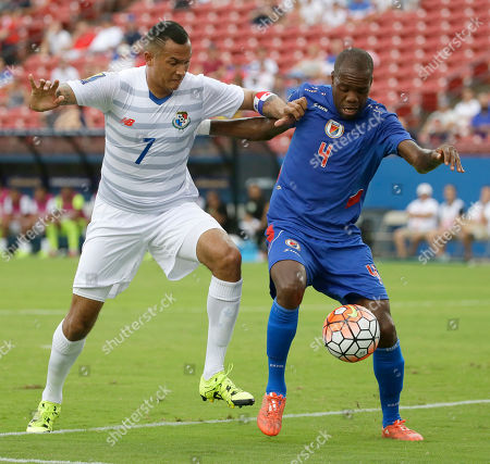 Stock Photo of Blas Perez, Kim Jaggy Panama forward Blas Perez (7) and Haiti defender Kim Jaggy (4) vie for the ball during the first half of a CONCACAF Gold Cup soccer match in Frisco, Texas