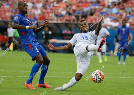 Alberto Quintero, Kim Jaggy Panama midfielder Alberto Quintero (19) kicks the ball in front of Haiti defender Kim Jaggy (4) during the first half of a CONCACAF Gold Cup soccer match in Frisco, Texas