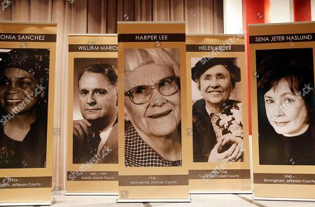 "Harper Lee, author of ""To Kill a Mockingbird"", has her photo displayed at center, at the Alabama Writers Hall of Fame, in Tuscaloosa, Ala. Lee missed her induction as an inaugural member of the Alabama Writers Hall of Fame on Monday just weeks before the release of her second book"