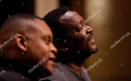"""Wendell Pierce, Kevin Mambo Wendell Pierce, right, who plays the character Chris, and Kevin Mambo, who plays Lou, rehearse for the upcoming play """"Brothers from the Bottom,"""" in New Orleans. For New Orleans native and actor Pierce, the approaching tenth anniversary of Hurricane Katrina's devastation marked an excellent time to show the play, about a neighborhood and family dealing with gentrification and development after the storm"""