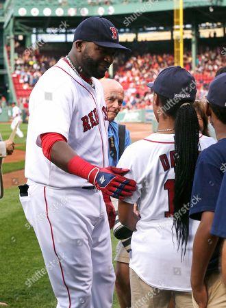 Stock Picture of Mo' ne Davis, David Ortiz Mo' ne Davis meets Boston Red Sox designated hitter David Ortiz prior to a baseball game at Fenway Park in Boston