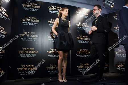 """Stock Image of Director and actress Natalie Portman and Israeli actor Gilad Kahana pose during a photo call before a premier for the film """"A Tale of Love and Darkness"""" in Jerusalem"""