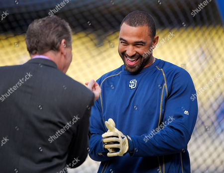 Matt Kemp, Orel Hershiser San Diego Padres' Matt Kemp, right, greets former Los Angeles Dodgers pitcher Orel Hershiser prior to a baseball game between the teams, in Los Angeles
