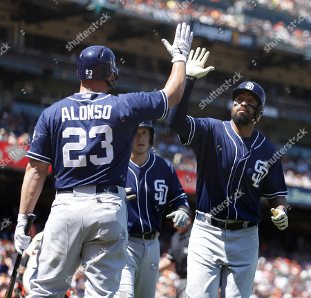 Matt Kemp, Yonder Alonso San Diego Padres' Matt Kemp, right, is congratulated by Yonder Alonso (23) after Kemp hit a two-run home run off San Francisco Giants' Jeremy Affeldt in the eighth inning of a baseball game, in San Francisco