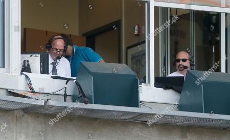 Kirk Gibson, Mario Impemba Fox Sports Detroit commentator Kirk Gibson, left, is seen with Mario Impemba, the voice of the Detroit Tigers on television during the ninth inning of a baseball game between the Detroit Tigers and the Pittsburgh Pirates, in Detroit