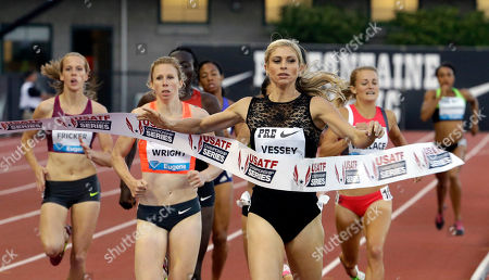 Stock Photo of Maggie Vessey Maggie Vessey hits the tape to win the 800-meter race during the Prefontaine Classic track and field meet in Eugene, Ore., . Vessey won with a time of 2:00.7