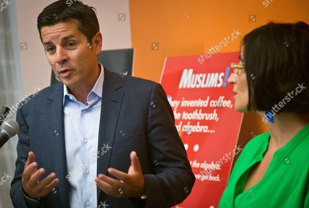 Muslim ads Muslim comics Dean Obeidallah, left, and Negin Farsad, right, hold a press conference about a lawsuit challenging the Metropolitan Transportation Authority's refusal to run comedic ads about American Muslims, in New York