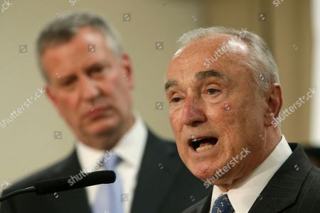 Bill de Blasio, William J. Bratton New York City Police Commissioner William J. Bratton, right, is joined by Mayor Bill de Blasio as he speaks to reporters during a news conference to discuss the Summer All Out community policing program, in the Bronx borough of New York