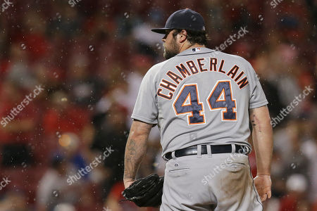 Joba Chamberlain Detroit Tigers relief pitcher Joba Chamberlain (44) prepares to pitch in the eighth inning of a baseball game against the Cincinnati Reds, in Cincinnati. The Reds won 8-4