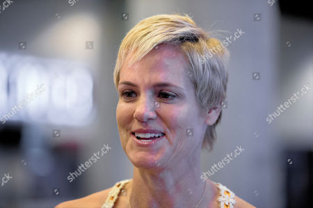 Stock Image of Dara Torres Five-time Olympian Dara Torres speaks to the media during a news conference promoting the 2016 U.S. Olympic Trials, at CenturyLink Arena in Omaha, Neb., the site of her last competitive swim event. The trials will be held for the third straight time in Omaha