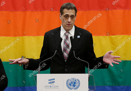 Stock Photo of Activist Stuart Milk, nephew of Harvey Milk, speaks at a lesbian, gay, bisexual and transgender equality event that followed a ceremony for the 70th anniversary of the United Nations in San Francisco, . Harvey Milk was an openly gay San Francisco politician who was assassinated in 1978