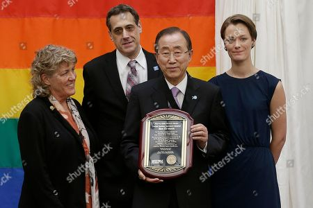 Ban Ki-moon U.N. Secretary General Ban Ki-moon, center right, holds up a plaque presented by the Harvey Milk Foundation as he poses for photos with Milk's former campaign manager Anne Kronenberg, left, Milk's nephew Stuart Milk, second from left, and Norwegian politician Anette Trettebergstuen at a lesbian, gay, bisexual and transgender equality event that followed a ceremony for the 70th anniversary of the United Nations in San Francisco, . Harvey Milk was an openly gay San Francisco politician who was assassinated in 1978