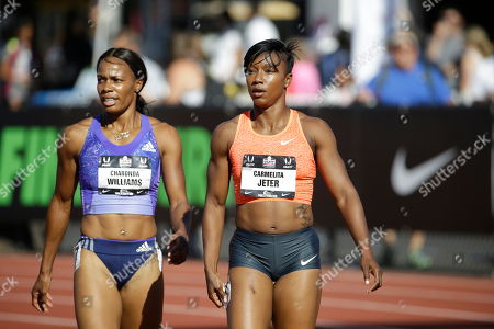 Carmelita Jeter, Charonda Williams Carmelita Jeter, right, is shown with Charonda Williams after a 100 meters first round race at the U.S. Track and Field Championships in Eugene, Ore