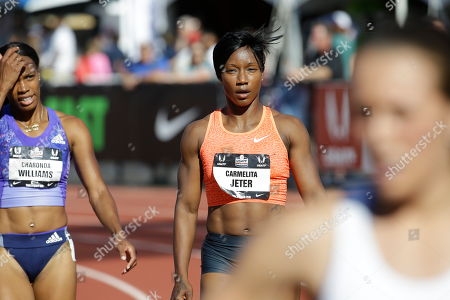 Carmelita Jeter Carmelita Jeter is shown after a 100 meters first round race at the U.S. Track and Field Championships in Eugene, Ore