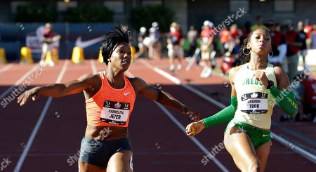 Carmelita Jeter, Jasmine Todd Carmelita Jeter, left, wins her first-round heat of the women's 100 meters ahead of Jasmine Todd at the U.S. track and field championships in Eugene, Ore