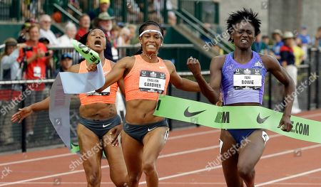 Torie Bowie, English Gardner, Carmelita Jeter Tori Bowie, right, wins the 100-meter against English Gardner, center, and Carmelita Jeter at the U.S. Track and Field Championships in Eugene, Ore