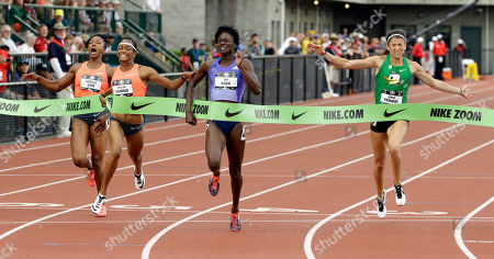 Torie Bowie, English Gardner, Carmelita Jeter, Jenna Pradnini Tori Bowie, second from right, wins the 100-meter at the U.S. Track and Field Championships in Eugene, Ore., . From left to right, are: Carmelita Jeter, English Gardner, Bowie and Jenna Pradnini