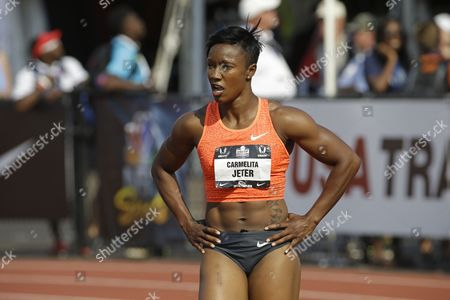 Carmelita Jeter Carmelita Jeter is shown at the U.S. Track and Field Championships in Eugene, Ore