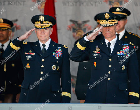 Martin Dempsey Joint Chiefs Chairman Gen. Martin E. Dempsey, left, and Lt. Gen. Robert Caslen Jr., superintendent of the U.S. Military Academy, stand for the national anthem during a graduation and commissioning ceremony at the academy, in West Point, N.Y