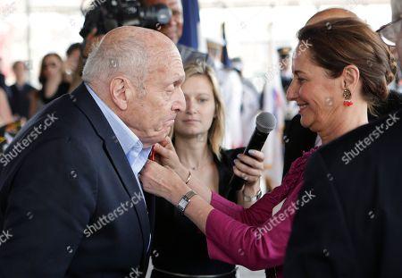Segolene Royal, Harry Ettlinger World War II veteran Harry Ettlinger, left, is awarded the Legion of Honor insignia by French Environment Minister Segolene Royal, in New York