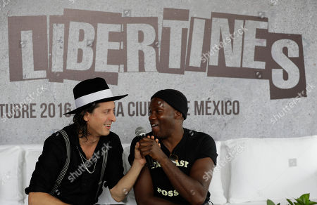 Carl Barat, Gary Powell Guitarist Carl Barat, left, and drummer Gary Powell, of English rock band The Libertines, joke as they answer questions during a press conference in Mexico City. The Libertines will perform at Mexico City Arena on Oct. 5