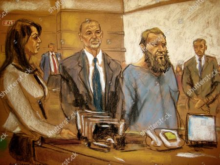 Zainab Ahmad, Sean Maher, Muhanad Mahmoud Al Farekh In this courtroom sketch, Muhanad Mahmoud Al Farekh, third from left, makes an appearance at federal court in New York on . Authorities say he traveled from Canada to Pakistan to train with al-Qaida in order to carry out jihad has been arrested and charged with conspiring to kill American soldiers, according to court papers unsealed Thursday