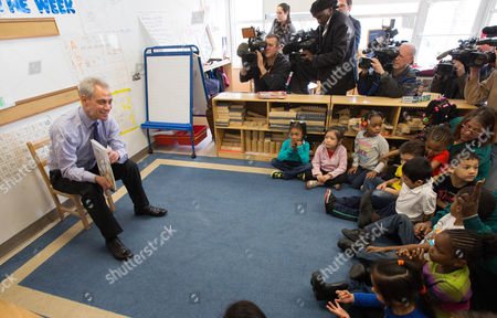 """Rahm Emanuel Chicago Mayor Rahm Emanuel reads to children in a classroom at the Carole Robertson Center for Learning, in Chicago. The former White House chief of staff spoke at a news conference Wednesday, a day after besting Cook County Commissioner Jesus """"Chuy"""" Garcia in Chicago's first mayoral runoff"""