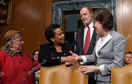 Loretta Lynch, Barbara Milulski, Richard Shelby, Susan Collins Attorney General Loretta Lynch, center, is welcomed on Capitol Hill in Washington, prior to testifying before the Senate subcommittee on Commerce, Justice, Science, and Related Agencies hearing to examine the proposed budget estimates for fiscal year 2016 for the Justice Department. From left are, the subcommittee's ranking member Sen. Barbara Mikulski, D-Md., Lynch, subcommittee Chairman Sen. Richard Shelby, R-Ala, and Sen. Susan Collins, R-Maine