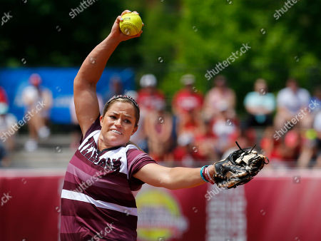 Rachel Fox CORRECTS DAY AND DATE - Texas A&M pitcher Rachel Fox pitches in the first inning of a Division I NCAA college softball tournament regional championship game in Norman, Okla., . Oklahoma won 2-0 and moves on to the super regional
