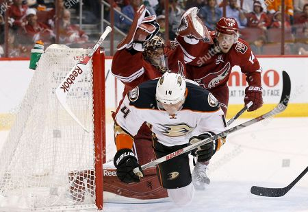 Tomas Fleischmann, Mike Smith, Joe Vitale Anaheim Ducks' Tomas Fleischmann (14), of the Czech Republic, collides with Arizona Coyotes' Mike Smith, top left, as Coyotes' Joe Vitale, right, looks on during the first period of an NHL hockey game, in Glendale, Ariz