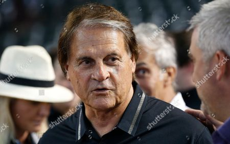 Stock Image of Tony LaRussa Arizona Diamondbacks chief baseball officer Tony LaRussa speaks with people on the field prior to an opening day baseball game against the San Francisco Giants, in Phoenix