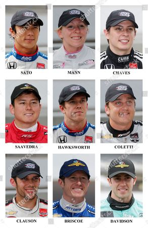 Takuma Sato, Pippa Mann, Gabby Chaves, Sebastian Saavedra, Jack Hawksworth, Stefano Coletti, Bryan Clauson, James Davidson, Ryan Briscoe In these 2015, photos, drivers in the starting field for the Indianapolis 500 IndyCar auto race are shown after they qualified at the Indianapolis Motor Speedway in Indianapolis. Ninth row: Takuma Sato, of Japan; Pippa Mann, of England; Gabby Chaves, of Colombia. Tenth row: Sebastian Saavedra, of Colombia; Jack Hawksworth, of England; Stefano Coletti, of Monaco. Eleventh row: Bryan Clauson; Ryan Briscoe, of Australia; James Davidson, of Australia