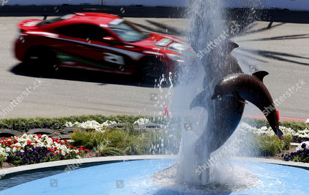 Dara Torres,12-time Olympic medalist swimmer, drives during a practice run for the Pro-Celebrity race at the Toyota Grand Prix of Long Beach on in Long Beach, Calif