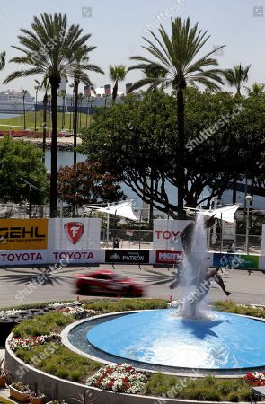 "Rutledge Wood, Co-host of ""Top Gear USA"" drives during a practice run for the Pro-Celebrity auto race at the Toyota Grand Prix of Long Beach on in Long Beach, Calif"