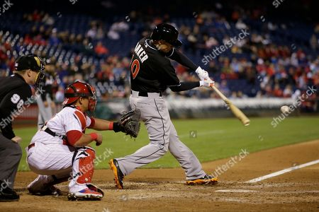 Miami Marlins' Jeff Baker in action during a baseball game against the Philadelphia Phillies, in Philadelphia