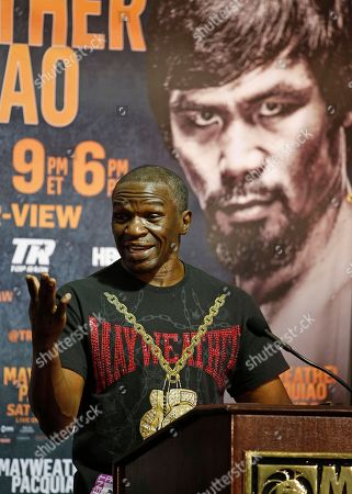 Floyd Mayweather Sr Boxer Floyd Mayweather Jr.'s father and trainer Floyd Mayweather Sr. speaks during a media roundtable, in Las Vegas. Floyd Mayweather Jr. will face Manny Pacquiao in a welterweight boxing match in Las Vegas on May 2