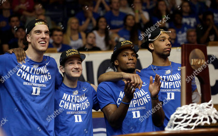 Marshall Plumlee, Grayson Allen, Justise Winslow, Jahlil Okafor Marshall Plumlee, left to right, Grayson Allen, Justise Winslow and Jahlil Okafor react during a homecoming celebration for the Duke basketball team at Cameron Indoor Stadium in Durham, N.C. Duke defeated Wisconsin Monday night in the NCAA Final Four tournament championship game